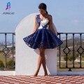 Marinha Laço Azul Vestidos de Baile Curto Vestido de Noite Um Ombro Querida Zipper Voltar Mulheres Vestido de Festa Custom Made