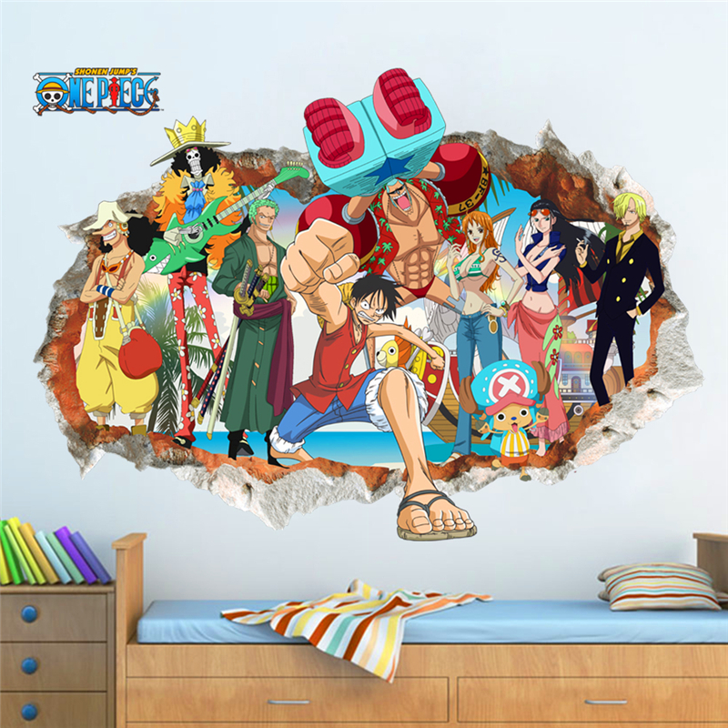 3d one piece Luffy through wall decals for kids rooms bedroom home decor art cartoon broken wall stickers pvc diy posters
