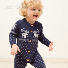 Autumn Winter Baby Romper Knitting Clothes Long Sleeved Christmas Deer Baby Jumpsuit Newborn Baby Clothing