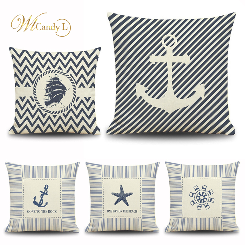 WL Candy L Geometric Stripe Cushion Cover Rudder Boat anchor Pattern 45*45cm Home Decoration Car Sofa Beige Linen Pillow Cover