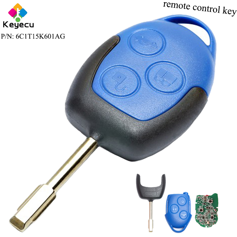 KEYECU Aftermarket Remote Control Car Key 3 Buttons 433MHz 4D63 Chip FO21 Blade FOB for Ford