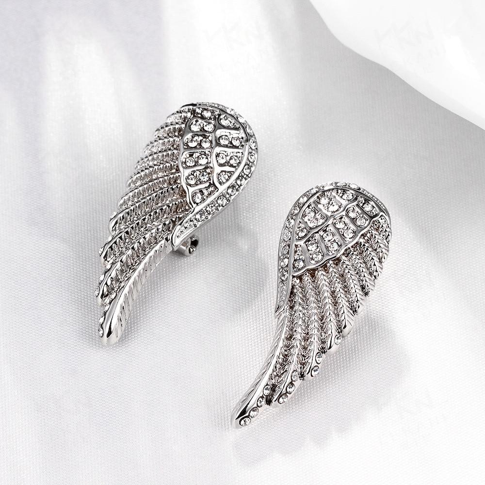2018 New Fashion Charm Womens Stud Earrings Jewelry Trendy Long Rhinestone Angel Wings F ...