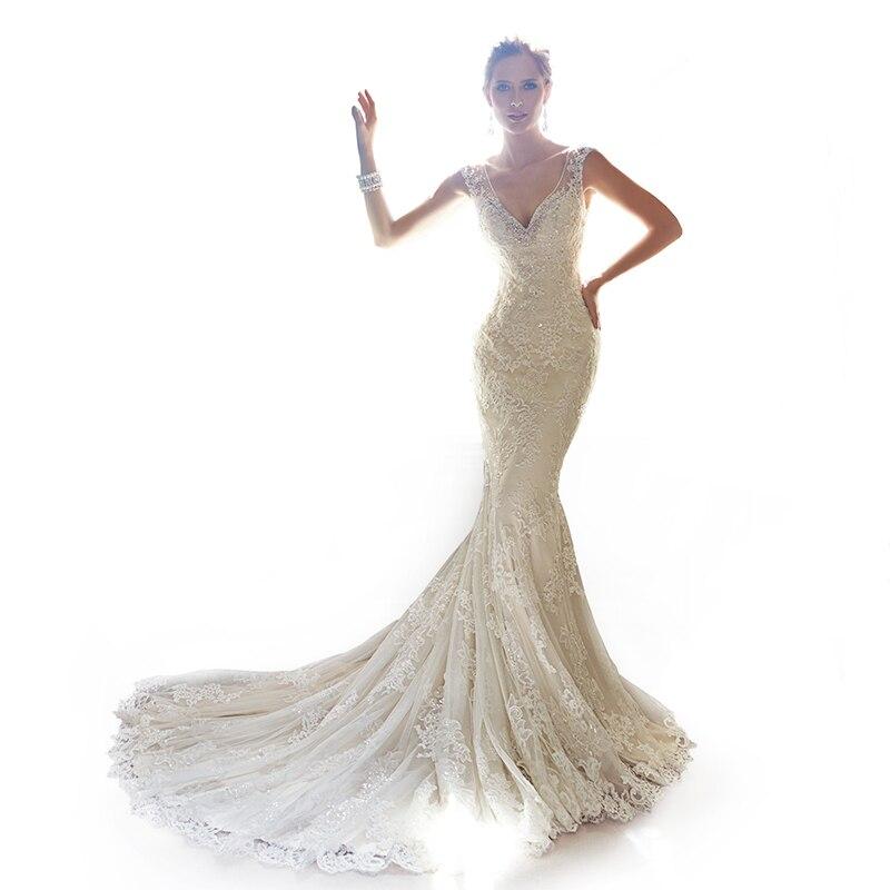 Aliexpress.com : Buy Mermaid wedding dress 2014 sheer back deep v ...