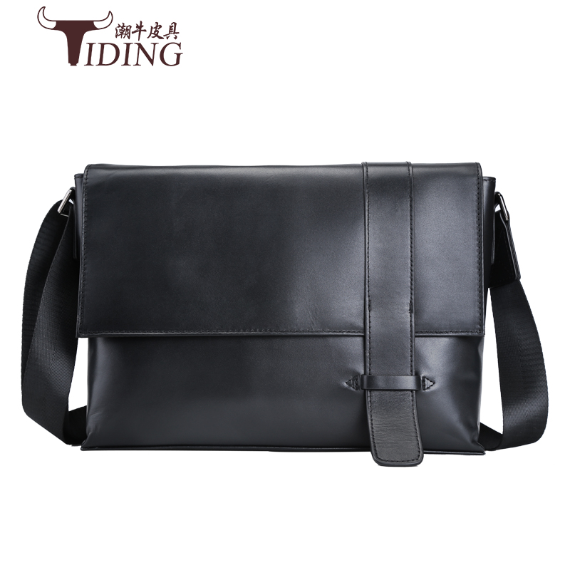 Фото men shoulder bag genuine leather high quality man shoulder crossbody messenger real leather black vintage bags male travel bags