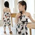 2016 verão escola primavera novas crianças de calças menina calças infantis grande dos desenhos animados das crianças estilingue Super vestido