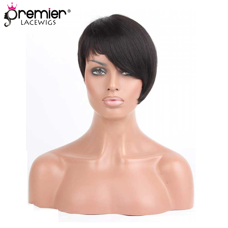 PREMIER LACE WIGS Short Style Side-Swept Bangs Indian Remy Hair Machine Made Glueless Non-lace Human Hair Wigs [PWHH-13-1003]