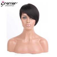 PREMIER Machine Made Glueless Non lace Human Hair Wigs Short Style Side Swept Bangs Indian Remy Hair[PWHH 13 1003]