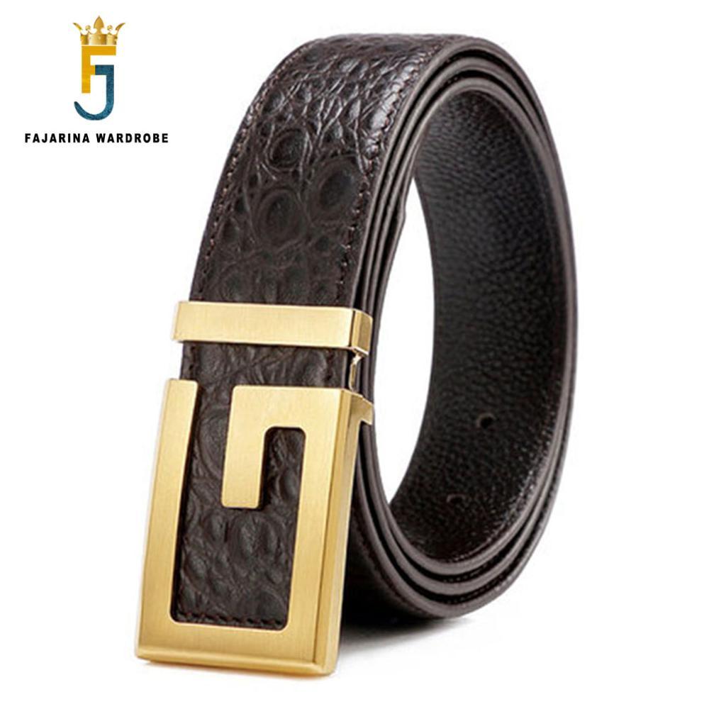 FAJARINA Fashion Crocodile Pattern Line Genuine Leather Letter Brass Slide Buckle Metal Quality Cowhide Belts for Men LUFJ34