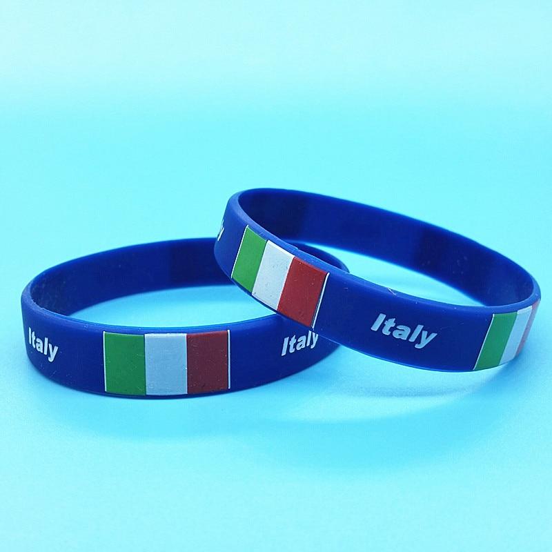 100pcs Italy Flag Sport Silicone Bracelet Country Logo Hologram Wristband ID Rubber Wrist Strap Bangle Italia