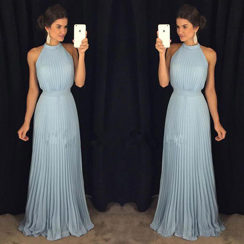 Light Blue A Line Chiffon   Prom     Dresses   High Neck Floor Length Pleats Ruffle Formal Evening Party Gowns Cheap