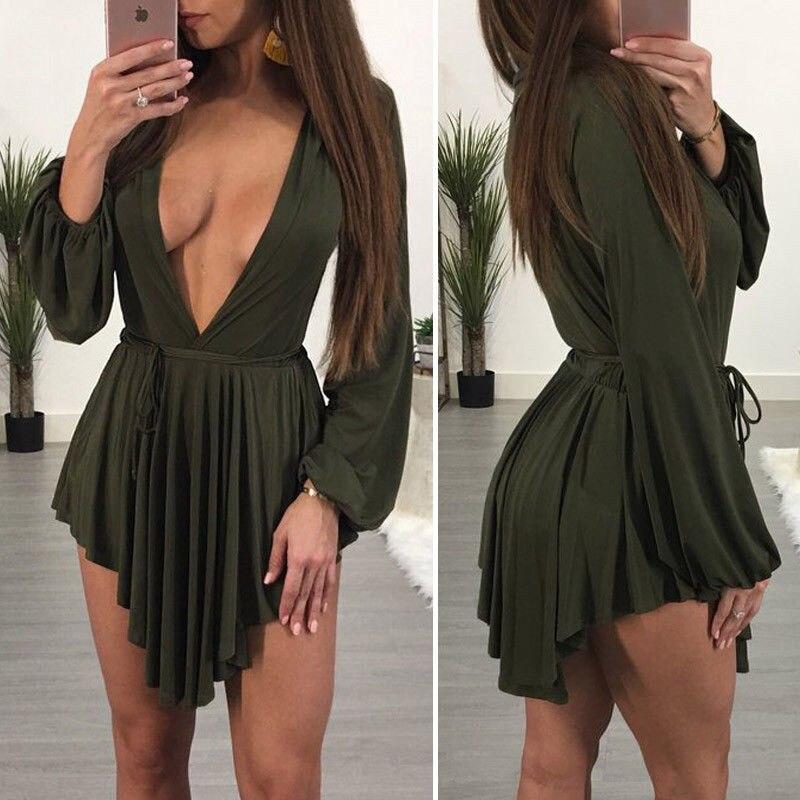 Mini robe de soirée femme offre spéciale exotique été profond lâche Mini robe taille haute Sexy à lacets Mini robe