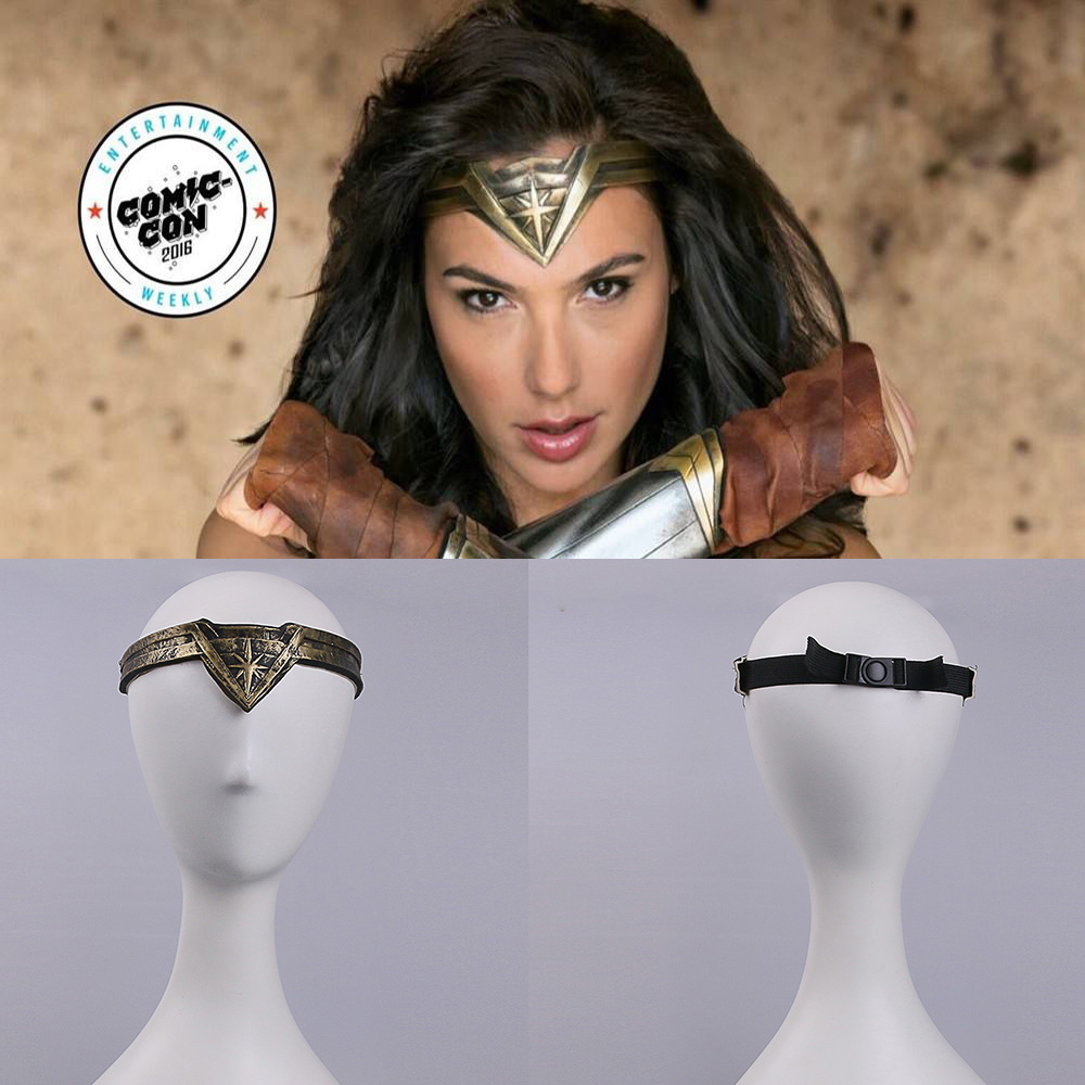 2017 Movie Wonder Woman Superhero Diana Prince Leather Headgear Metal Badge Ring Accessories Cosplay Bronze Crown Band Headgear