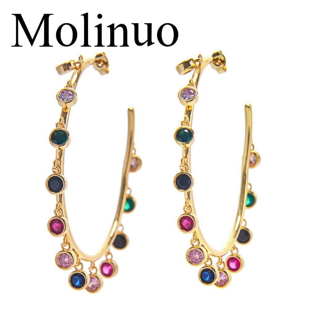 Molinuo Fashion Multiple Round rainbow cz charm Earrings Jewelry gorgeous Gold Color circle hoop Chandelier for Women