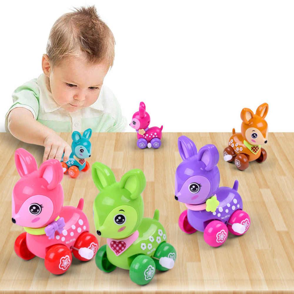 Wind Up Speelgoed Cartoon Herten Clockwork Klassieke Auto Gift Cartoon Dier Running Kruipen Springen Pull Back Clockwork Leuke Baby Kids