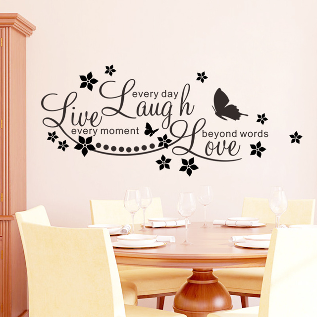 Live Laugh Love Family Wall Stickers Decals Inspirational Quotes Butterfly  Flower Living Room Decor Stickers Diy Part 57