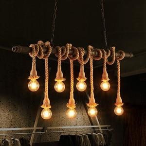 Edison Loft Style Vintage Pendant Light Fixtures Industrial Hemp Rope Water Pipe Hanging Lamp Indoor Lighting Lamparas