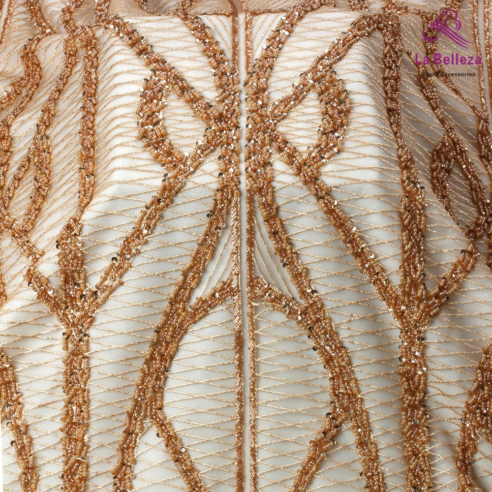 La Belleza 2019 New heavy beaded lace fabric rose gold simple line beading evening dress lace fabric 1 yardLa Belleza 2019 New heavy beaded lace fabric rose gold simple line beading evening dress lace fabric 1 yard