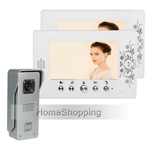 Big sale FREE SHIPPING New Wired 7″ TFT LCD Video Door Phone Intercom System With 2 White Screen Waterproof Door bell Camera In Stock
