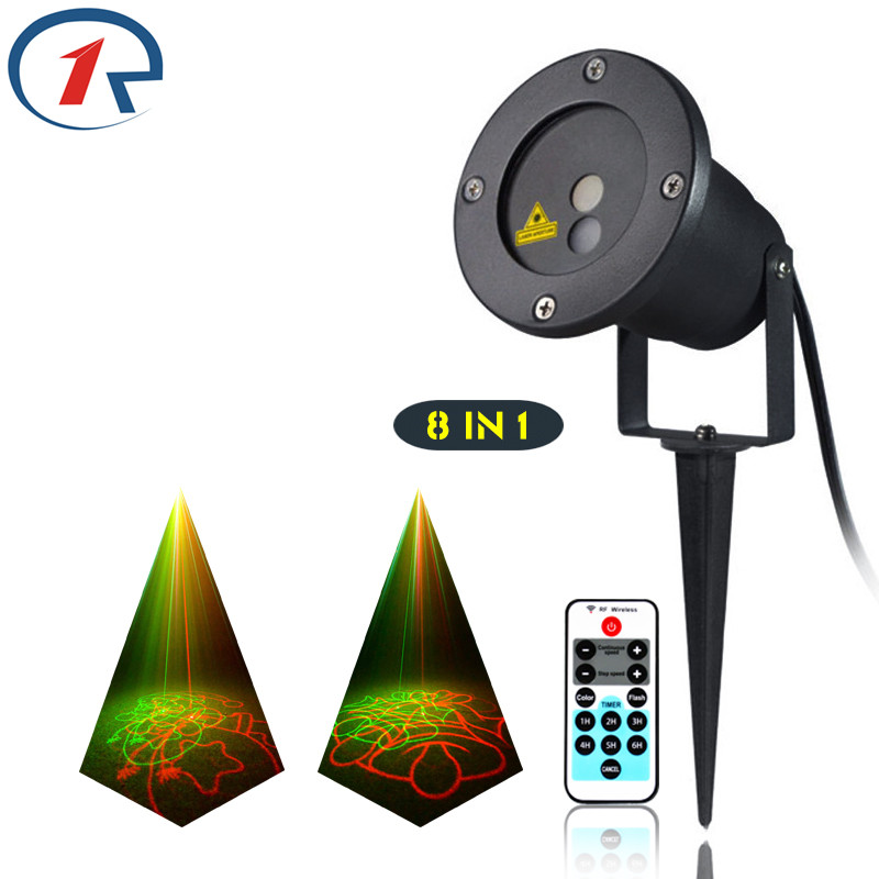 ZjRight IR Remote Christmas 8 patterns Red Green laser light outdoor lawn party projection stage light bar KTV disco dj lighting rg mini 3 lens 24 patterns led laser projector stage lighting effect 3w blue for dj disco party club laser