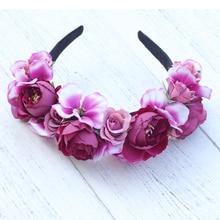 Wedding Headband Summer Hair Accessories Beach Headwear Elastic Girls Princess Crown Wreath Band flower garland crown headband