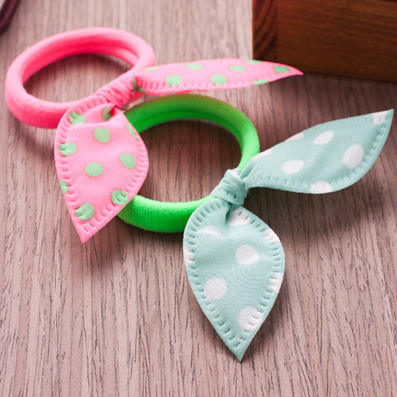 Fashion Girls H air Band Mix Styles Polka Bowknot Rabbit Ears Elastic H air Ropes Ponytail Holder for Woman H airwear massage in Massage Relaxation from Beauty Health