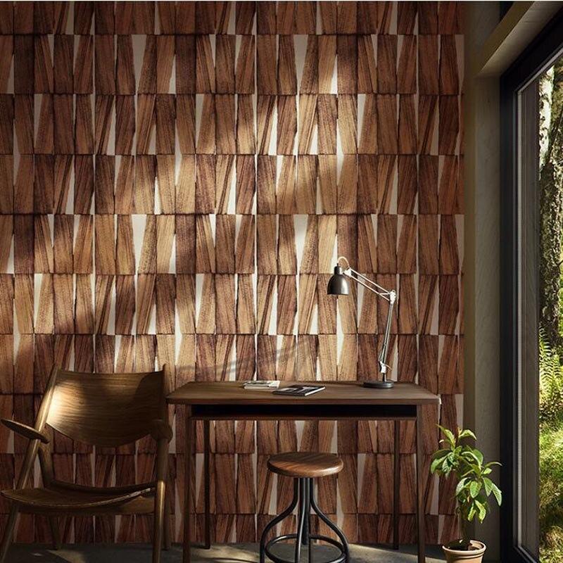 Asie du sud-est Papel De Parede minimaliste chambre Salon mur Imitation bois papier peint rétro vent Salon nordique papier peint