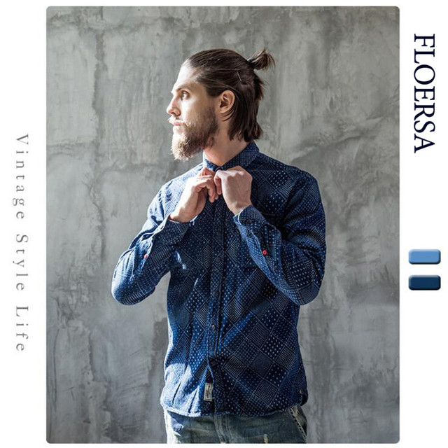 2aef1be7c21 FLOERSA Denim Shirt Men Dark Blue Printed Jean Shirt Classic Long Sleeve  Men Shirt Fashion Casual Shirt Hight Quality 083-1-45
