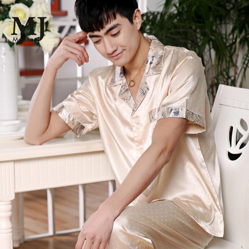 Pajamas Nightwear Silk Men's Plus-Size Summer Spring X027 Chemise-De-Nuit Nuisette Short-Sleeved