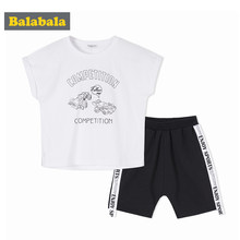 Balabala Toddler Boy 2-Piece 100% Cotton Rolled Short Sleeve T-shirt Print + Side-Striped Sport Shorts Set Children Kids Outfit(China)