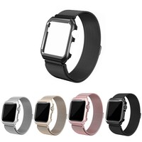 LazyOdd For Apple Watch Band Leather Loop With Stainless Steel Case Genuine Leather IWatch Strap For