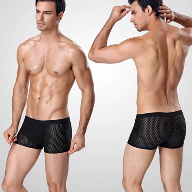 4 יח'\חבילה Mesh בוקסר גברים תחתונים מתאגרפים Homme סקסי שקוף Mens תחתוני במבוק סיבי תחתוני קרח משי גודל L-7XL
