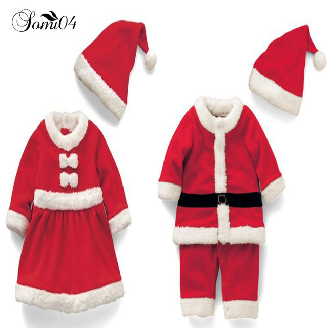 2cb3e973a6a45 2018 Children Christmas Clothing Set 12M-3T Baby Boys Suit Toddler Girls  Dresses Santa Claus Costumes Warm Clothes Gift Red Caps