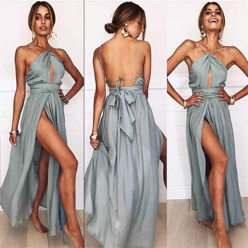 a52c376c31f12 Sexy High Split Halter Vintage Party Elegant Vestidos Boho Style Beach Maxi  Dress Women 2018 Summer Backless Bandage Tunic