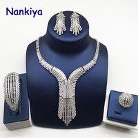 Nankiya Brilliant Cubic Zirconia Dubai Bridal Jewelry 4pc Set Nigerian Wedding Jewelry Accessory Sets With Factory Price NC756