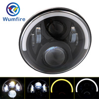 WUMFIRE 7 Round LED DOT Motorcycle Headlight Fog Lights Led Faros Para Moto Head Light Marley