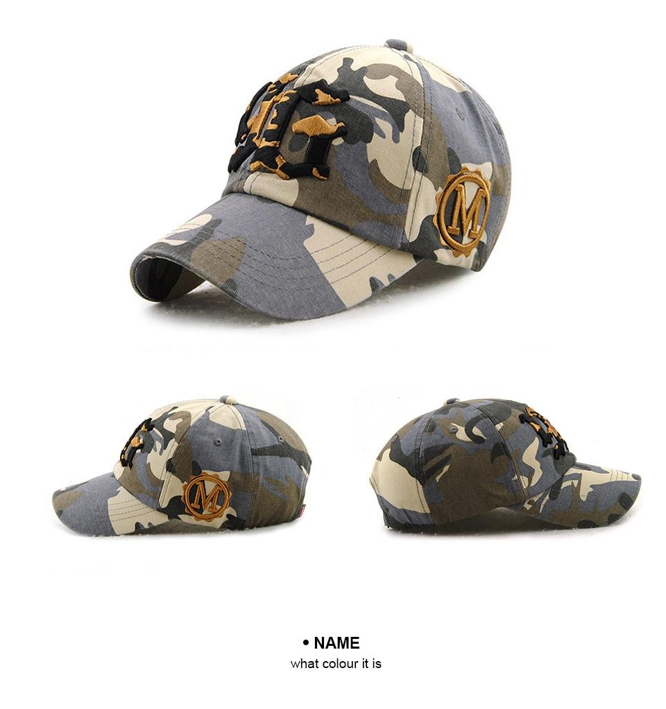 a83646d05490f Camouflage Mens baseball cap Women Branded cap snap back Camo hats High  Quality cotton hat cappelli per gli uomini touca