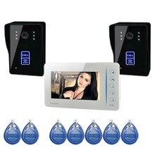 """7 """"Pantalla Táctil a Color de Video Teléfono de La Puerta de Acceso RFID a prueba de agua 700TVL Cámara Monitor de Intercomunicador Manos Libres"""