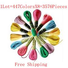 Darmowa Wysyłka Ściegu Nici 8 7 Yard Cross Stitch Floss podobny dmc wątek 1 partia = 447 kolorów x 8 = 3576 sztuk najlepiej jakość tanie tanio 100 poliestru Tradycyjny chiński PAPER BAG Składany GRUBA NIĆ Embroidery package Embroidery Floss
