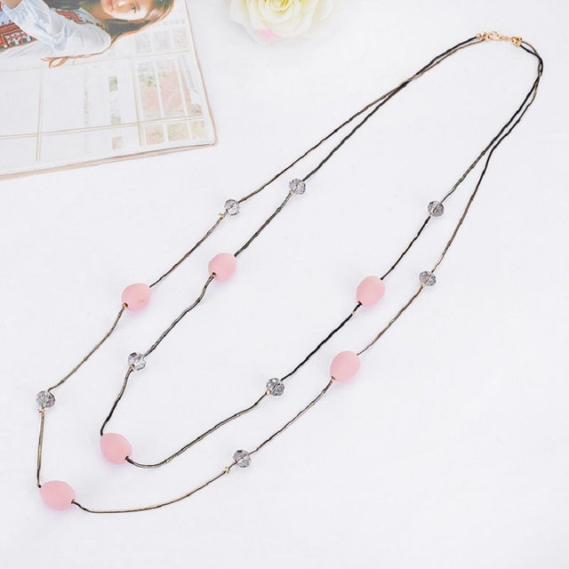 shaped chains necklace from charm necklaces layers romantic in item egg simple fresh fashion women crystal new accessories elements beads jewelry chain sweater