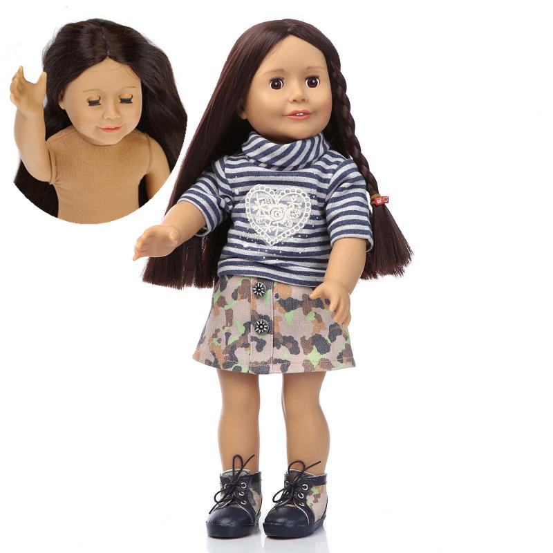 45cm silicone reborn baby soft body mini doll girl long hair eyes closed and open standing blinking doll hot-selling toys girls