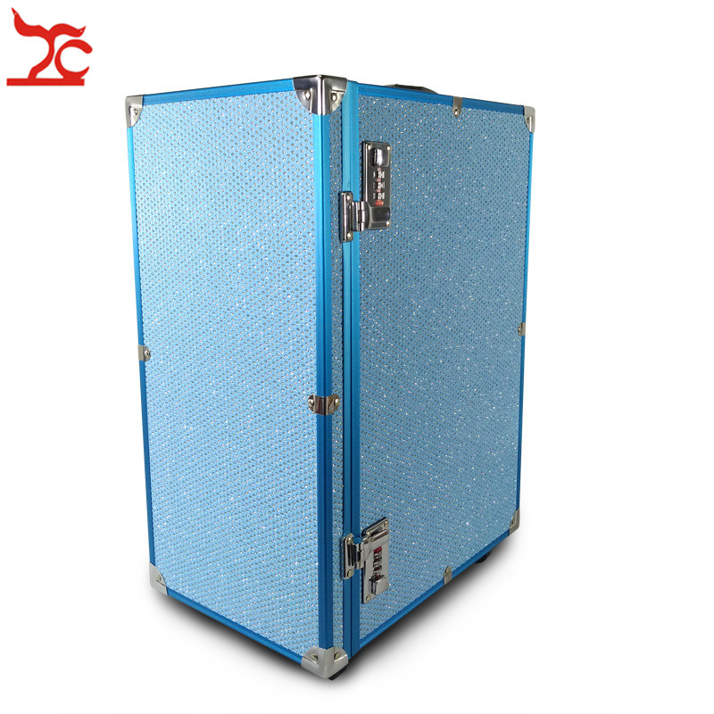 Aluminum Frame Jewelry Storage Box 10 Drawer With Lock Universal Wheels Jewelry Watch Bangle Makeup Suitcase Train Trolley Case