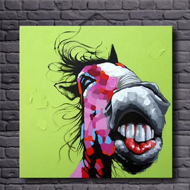 Komisch Esel Ölgemälde Auf Leinwand Moderne Tier Wand Kunst Wohnkultur  Malerei Kalligraphie Für Kinderzimmer Dekoration Ungerahmt