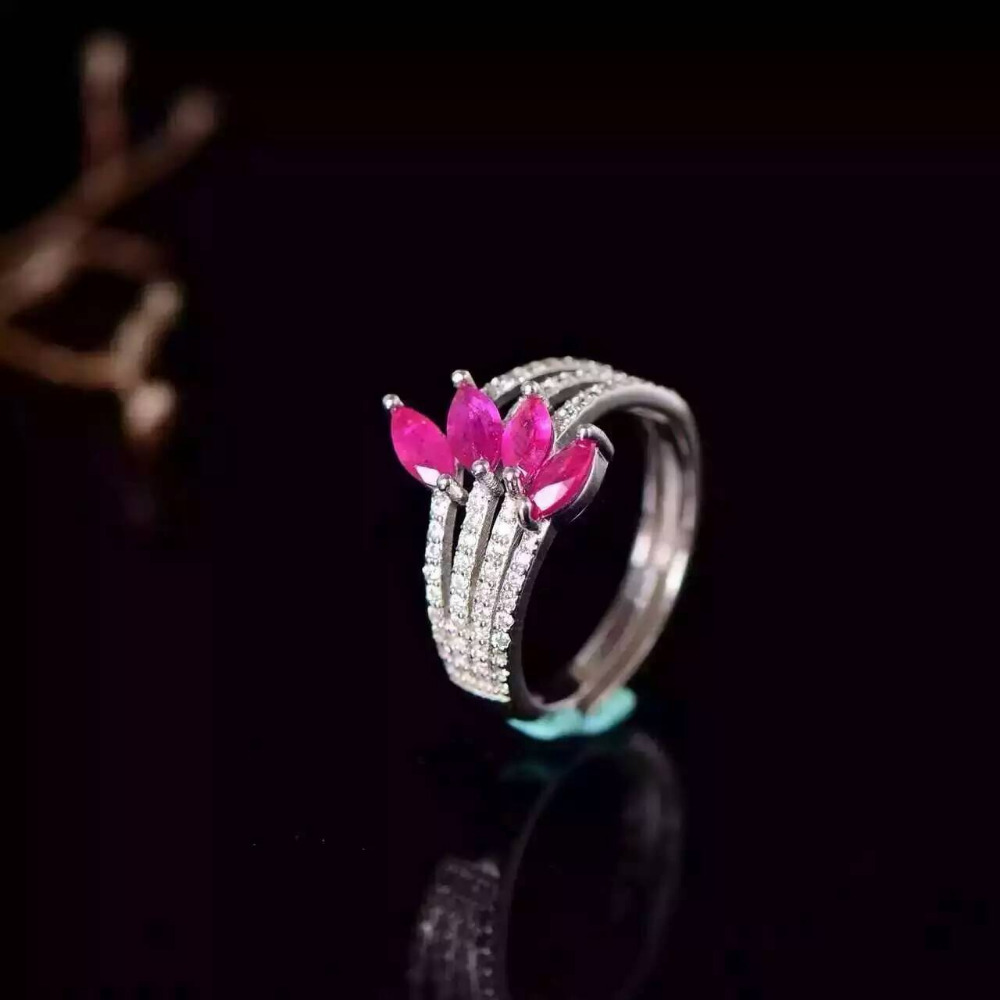 Natural red ruby gem Ring Natural gemstone ring 925 sterling silver trendy Luxury identity feathers Layers women party Jewelry