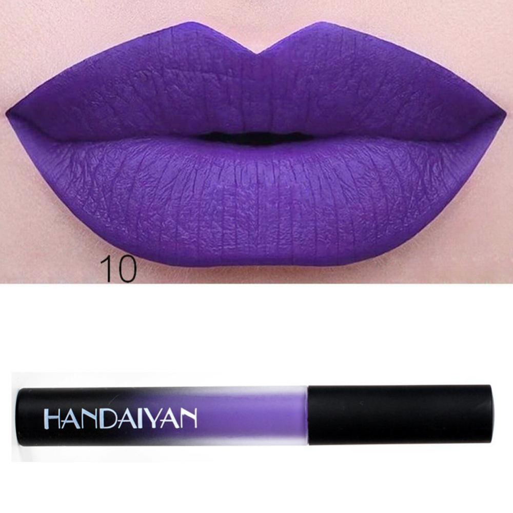 HANDAIYAN 12 Colors Matte Liquid Lipstick Lip Pen Purple Green Long Lasting Lipgloss Lip Balm Lips Makeup Cosmetic Lipsticks