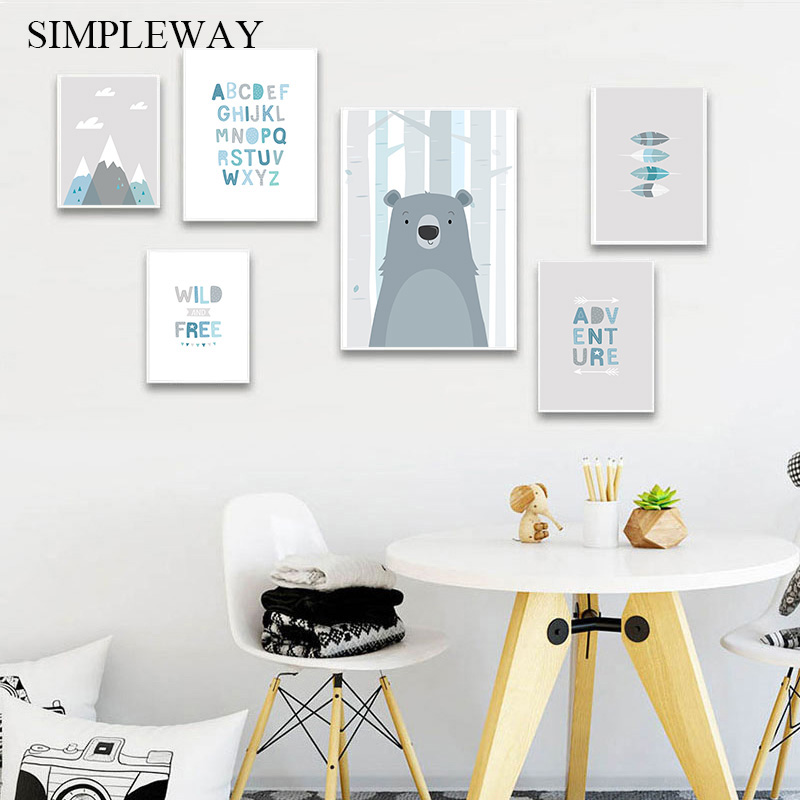 Wild Free Nursery Quotes Poster Bear Animal Print Wall Art Canvas Minimalist Picture Painting Nordic Kids Bedroom Decoration Painting & Calligraphy    - AliExpress