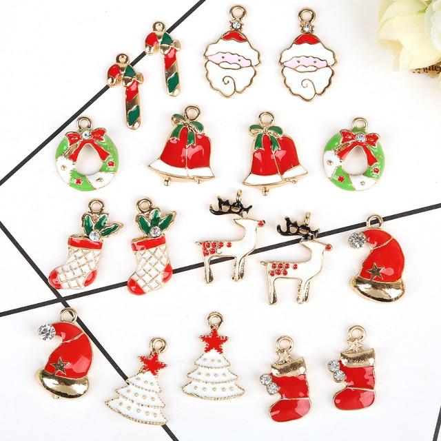 5pcslot multi option christmas design silver tone mix unique enamel christmas charms - Christmas Charms