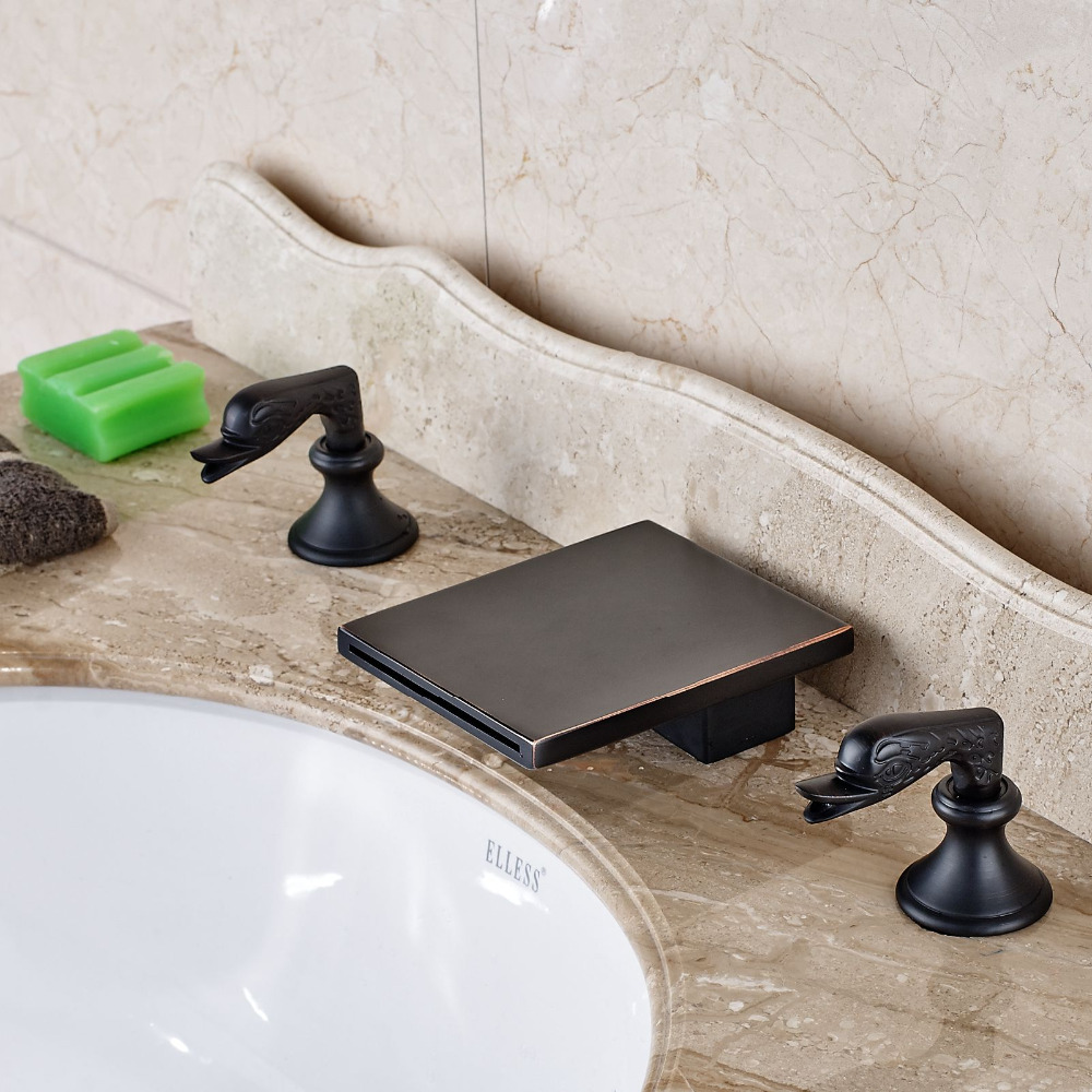 Deck Mounted Oil Rubbed Bronze Waterfall Spout Bathroom Sink Mixer Tap allen roth brinkley handsome oil rubbed bronze metal toothbrush holder