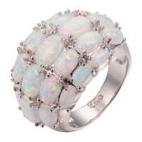 Wholesale White Fire Opal 925 Sterling Silver Ring Fashion Ring Size 6 7 8 9 10
