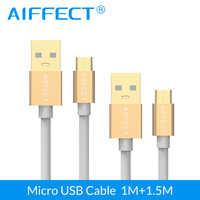 AIFFECT высокоскоростной 2 шт. Micro USB кабель алюминиевый микро-СВЕТОДИОДНЫЙ модуль панели управления B к USB кабель для зарядки и передачи данных Ш...
