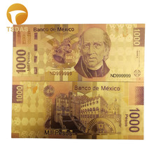 Mexico 1000 Pesos 24K Gold Plated Banknotes Realistic Antique Souvenir Collection Gifts